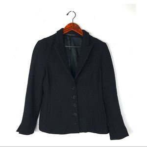 Theory blazer large black tweed wool button front